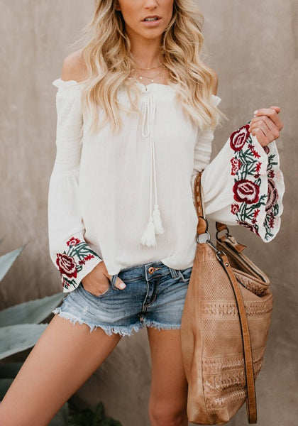 White Embroidery Ruffle Tassel Drawstring Off Shoulder Mexican Sweet Blouse