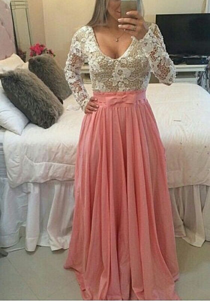 Pink Patchwork Lace Embroidery Backless V-neck Maxi Dress