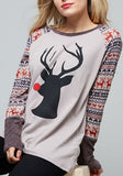 Grey Patchwork Round Neck Long Sleeve Christmas Print Fashion T-Shirt