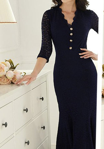 Dark Blue Patchwork Lace Single Breasted Zipper V-neck Maxi Dress