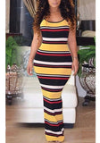 Yellow Striped Cross Back Bodycon Spaghetti Strap Backless Casual Going out Maxi Dress