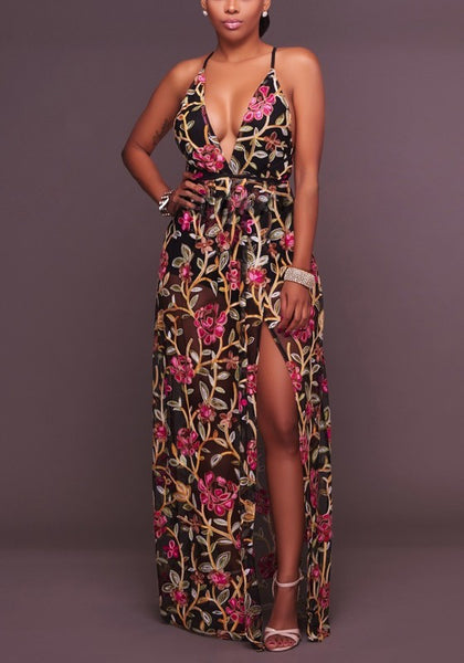 Black Floral Print Embroidery Tie Back Halter Neck Slit Bohemian Maxi Dress