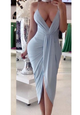 Sky Blue Irregular Ruched Backless Spaghetti Strap Deep V-neck Party Maxi Dress