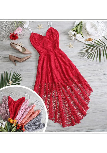 Red Lace Irregular Plunging Neckline Casual Maxi Dress