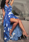 Blue Floral Print Irregular Lace-up High-low Mermaid Maxi Dress