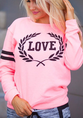 Pink Letter Print Round Neck Long Sleeve Casual Pullover Sweatshirt