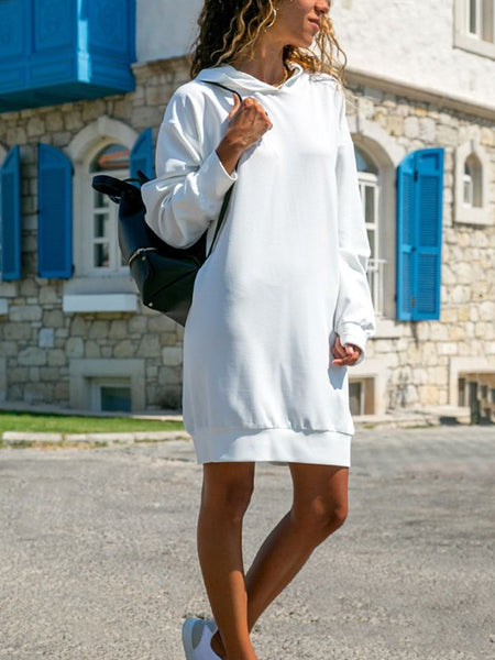 White Draped Hooded Long Sleeve Casual Sweatshirt