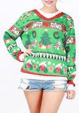 Green Floral Tree Snowman christmas Cute Long Sleeve Pullover Sweatshirt