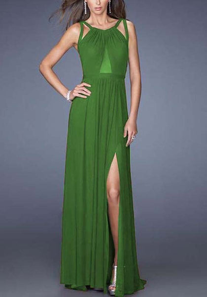 Green Side Slit Grenadine Condole Belt Cross Back Maxi Dress