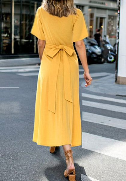 Yellow Sashes Draped Bow Two Piece Elegant Party Midi Dress