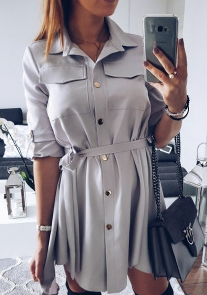 Light Grey Belt V-neck Elbow Sleeve Casual Midi Dress