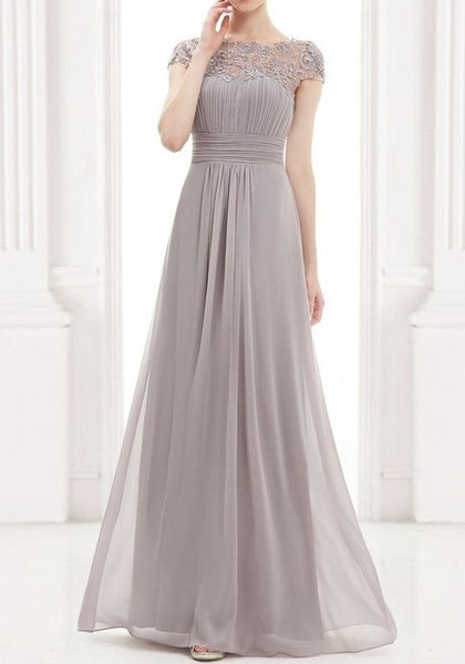 Grey Patchwork Lace Cut Out Backless Draped Elegant Chiffon Prom Maxi Dress