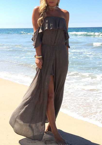 Dark Grey Ruffle Bandeau Off Shoulder Slit High Waisted Flowy Bohemian Beach Maxi Dress