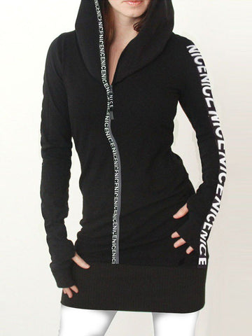 Black Patchwork Monogram Print Zipper Hooded Long Sleeve Fashion Sweatshirt