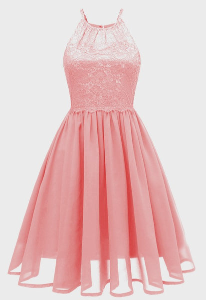 Pink Cut Out Lace Pleated Backless Chiffon Party Midi Dress