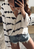 White Striped Hollow-out Plunging Neckline Long Sleeve Fashion T-Shirt