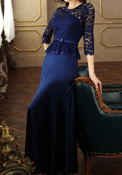 Navy Blue Lace Patchwork Elbow Sleeve Round Neck Elegant Maxi Dress