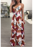 Red Floral Print Lace-up Spaghetti Strap Backless V-neck Bohemian Praty Maxi Dress