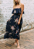 Navy Blue Floral Bandeau Ruffle Fashion Maxi Dress