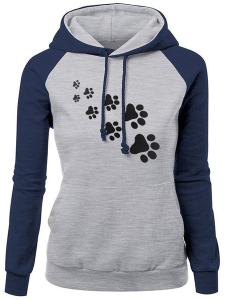 Dark Blue Color Block Floral Empreinte De Pas Print Drawstring Pockets Hooded Long Sleeve Fashion Sweatshirt