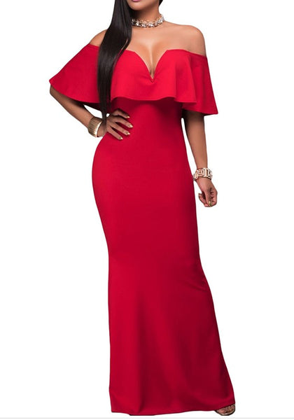 Red Plain Ruffle Plunging Neckline Maxi Dress