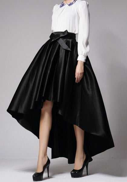 Black Pleated Sashes Bow Swallowtail High-low High Waisted Flared Maxi Skirt
