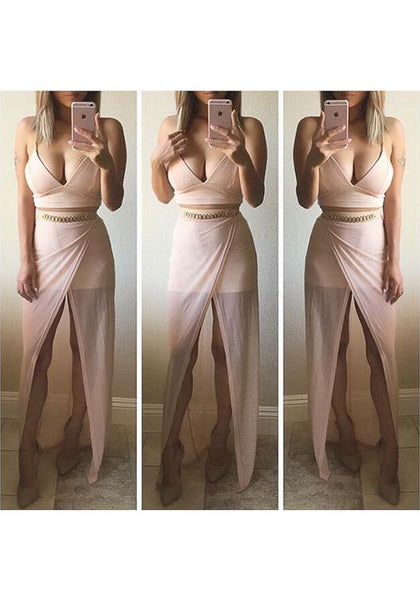 Pink Patchwork Deep V-neck Spaghetti Strap Side Slit Party Maxi Dress