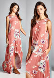 Pink Flowers Print Swallowtail Draped High-low A-line Sleeveless Maxi Dress