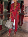 New Red Striped Print Pockets High Waisted Fashion Long Jumpsuit
