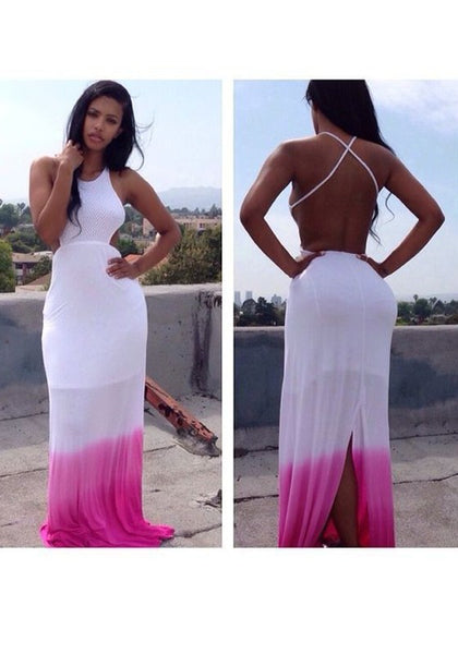 White And Rose Carmine Tie Dye Cross Back Draped Slit Backless Maxi Dress