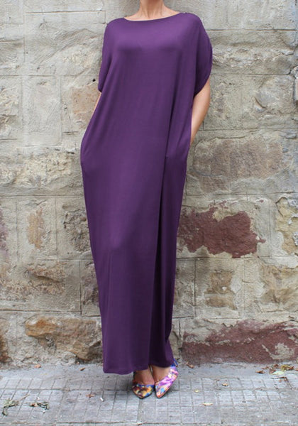 Purple Patchwork Pockets Bow Round Neck Fashion Maxi Dress