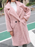 Pink Patchwork Pockets Buttons Turndown Collar Going out Outerwear