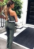 Dark Green Ruffle Asymmetric Shoulder High Waisted Wide Leg Long Jumpsuit