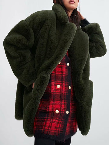 Dark Green Patchwork Pockets Buttons Turndown Collar Fashion Outerwear