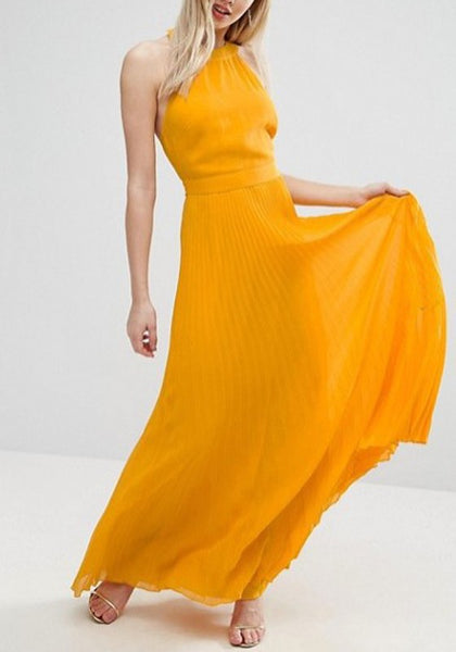 Yellow Pleated Draped Halter Neck Backless Flowy Bohemian Elegant Banquet Party Maxi Dress