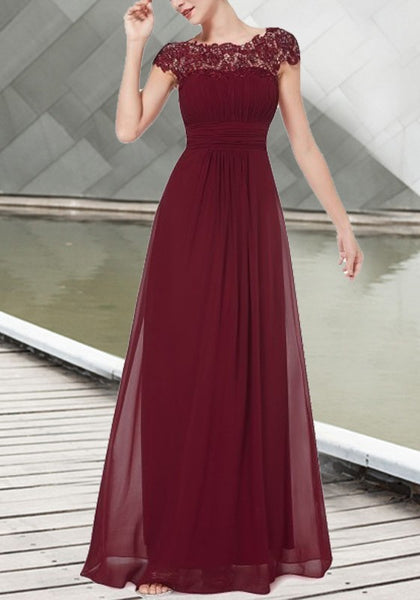 Wine Red Patchwork Lace Cut Out Backless Draped Elegant Chiffon Prom Maxi Dress