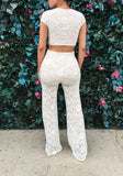 White Floral Lace Print Two Piece Crop Wide Leg Long Jumpsuit