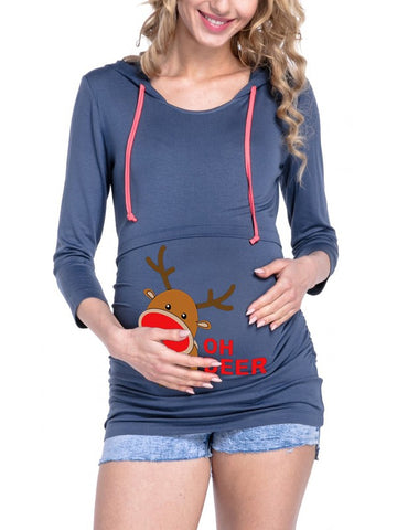 New Blue Floral Drawstring Hooded Long Sleeve Casual Christmas Maternity Sweatshirt