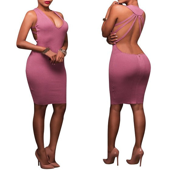 Pink Cut Out Backless Deep V-neck Sleeveless Bodycon Slim Midi Dress