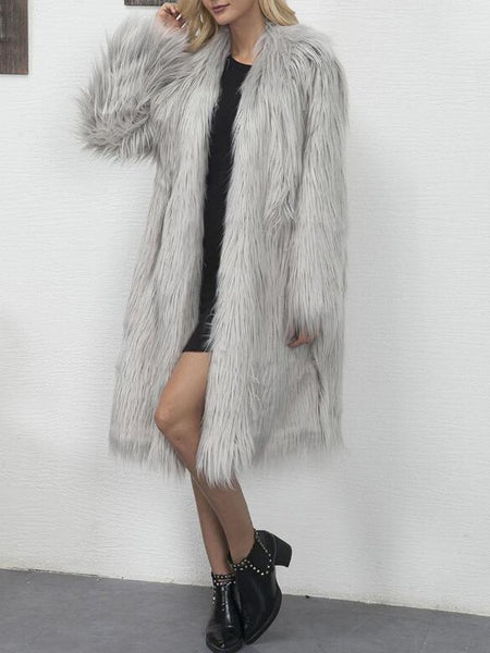 Grey Faux Fur Long Sleeve Popcorn Pile Teddy Casual Cardigan Coat