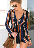 Navy Blue Striped Bow Irregular Deep V-neck One Piece Short Jumpsuit