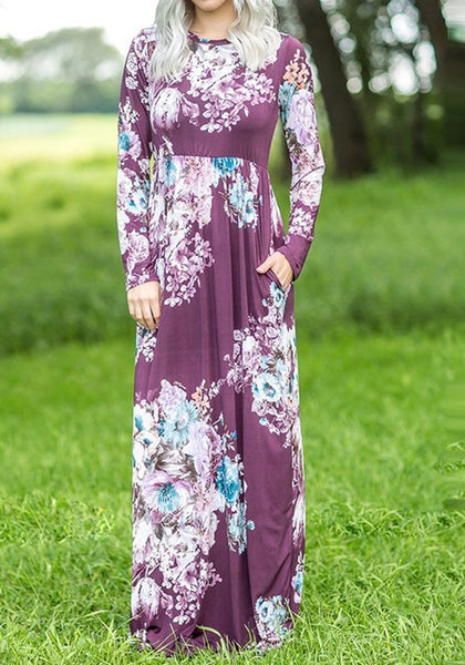 Purple Floral Draped Pockets Round Neck Long Sleeve Maxi Dress