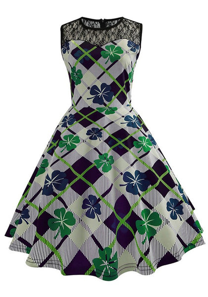 White Plaid Patchwork Lace Shamrock Pattern Pleated Tutu St. Patrick's Day Party Midi Dress