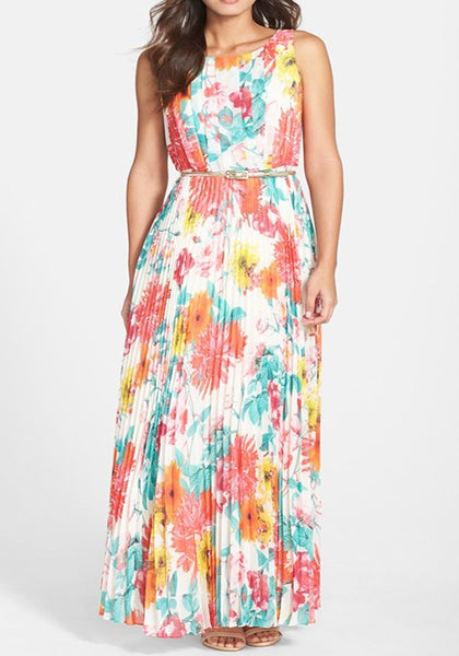 Multicolor Flowers Print Belt Zipper Sleeveless Bohemian Ruched Maxi Dress