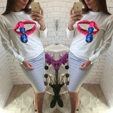 White Sequin Lip Beading Long Sleeve Casual Pullover Sweatshirt