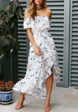 White Floral Irregular Ruffle Off Shoulder High-low Backless Bohemian Beach Maxi Dress