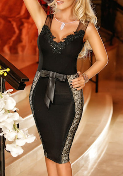 Black Patchwork Grenadine Rhinestone Lace Beading Bow V-neck Bodycon Clubwear Party Midi Dress