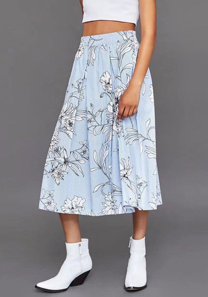 Blue Floral Print Pleated Elastic Waist High Waisted Skirt
