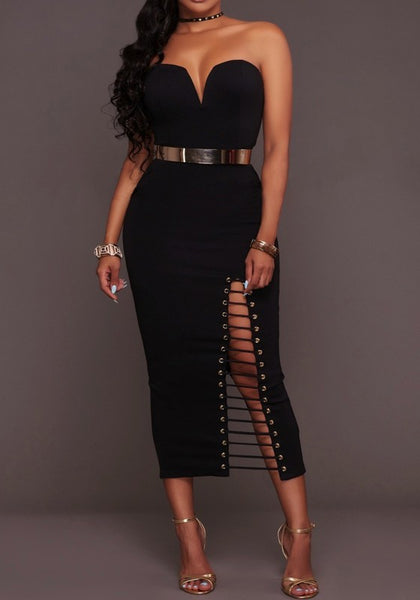 Black Plain Bandeau Hollow-out Boat Neck Off Shoulder Bodycon Pencil Maxi Dress