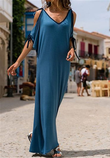 Blue Drawstring Cut Out V-neck Elbow Sleeve Fashion Maxi Dress